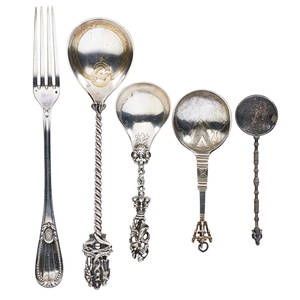 European silver spoons five soup spoon surmounted by floral crosses probably german dated 1652 spoon with figural handle of mother and children german 18th c etc longest 10 14 131 ot