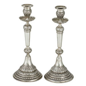German 800 silver candlesticks baluster form with acanthus leaf decoration early 20th c marked 12 12 x 5 235 ot
