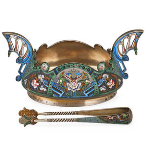 Ii artel enameled 88 silver sugar bowl and tongs oval bowl with shaped edge and open geometric handles delicately shaded twist wire cloisonne enameled floral and geometric ribbon decorations in the