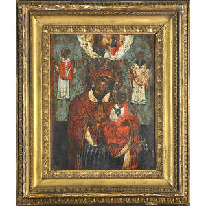 Greek icon panel of madonna and child late 18th19th century framed 15 x 11 12