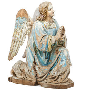 Italian woodcarved angel handpainted polychrome decoration in kneeling position 18th19th c 21 14 x 10 x 15 12
