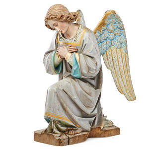 Italian woodcarved angel handpainted polychrome decoration in seated position 18th19th c 21 14 x 10 x 15 12
