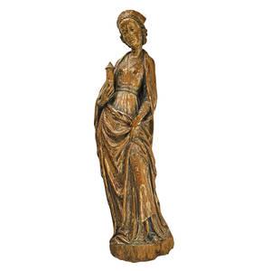 Joseph rifesser italian b 1921 carved wood polychrome painted figure of madonna 20th c 38 12