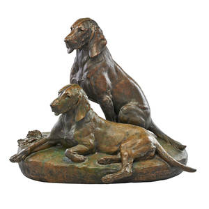 Julesedmond masson french 1871  1932 bronze sculpture of two dogs signed on base with foundry stamp cire perdue de leblancbarbedienne and fils paris 20