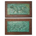 After antoinelouis barye french 17961875 pair of bronze plaques with verdigris patina depicting a lion and a panther 19th20th c framed signed barye 7 x 14 12 plaque only