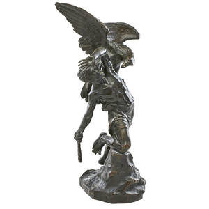 Egide rombaux french 18651942 bronze sculpture of prometheus attacked by the eagle ethon 22 h