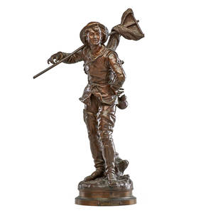 Hippolyte francois moreau french 18321927 bronze sculpture pecheur a la crevette shrimp fisherman signed 23