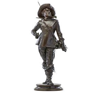 Edouard drouot french 18591945 bronze sculpture le mousquetaire of a cavalier signed 28 34