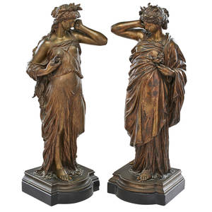 Etiennehenri dumaige french 18301888 bronze pair of figures the land and the sea 19th c signed 19