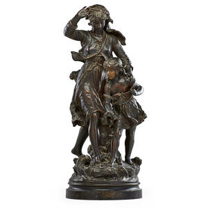 After hippolyte francois moreau french 18321927 bronze sculpture les soeurs with redbrown patina late 19th c signed 33