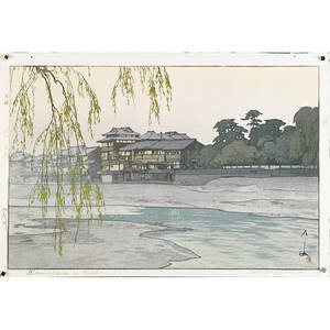 Hiroshi yoshida japanese 18761950 three woodblock prints fujiyama from kawaguchi lake kamogawa in kyoto and temple in the wood framed signed and titled largest 15 12 x 21 12 sh