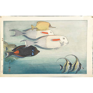 Hiroshi yoshida japanese 18761950 woodblock print fishes of honolulu 1925 signed and titled 11 x 16 sheet provenance private collection connecticut acquired from the collection of al
