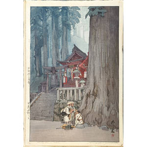 Hiroshi yoshida japanese 18761950 two woodblock prints plum gateway 1935 and misty day in nikko 1937 signed and titled largest 16 x 11 sheet provenance private collection connecti