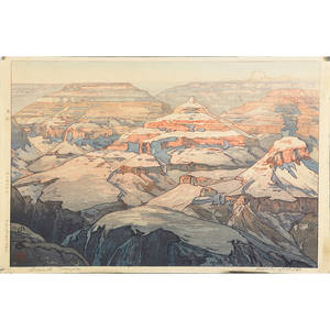 Hiroshi yoshida japanese 18761950 two woodblock prints niagara falls and grand canyon 1925 signed and titled 10 14 x 15 12 provenance private collection connecticut acquired from