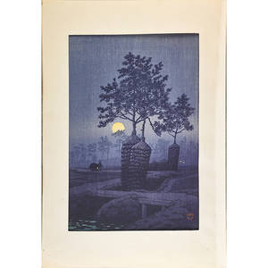 Kawase hasui japanese 18831957 woodblock print full moon at gamo 1932 15  x 10  sheet provenance private collection connecticut acquired from the collection of allen hendershott ea