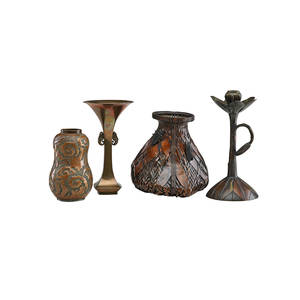 Japanese mixed metal vases four one woven copper ikebana basket with cicaida one floriform candlestick with handle one gourd vase with warrior and one flaring vase with shrimp 19th20th c larg
