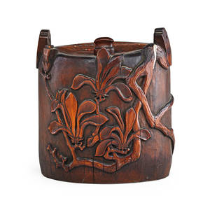 Japanese bamboo vessel handcarved floral and branch design in relief with stopper 19th20th c 7 34 x 6