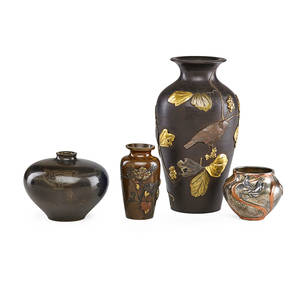 Japanese meiji bronze vases four one mixed metal baluster with birds one globular vessel with lotus one diminutive mixed metal baluster with leaves together with silvered vase late 19thearly 20