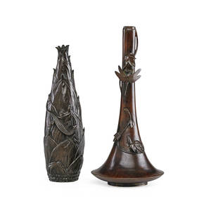 Japanese meiji bronze vases two one bottle form with leaves and dragonfly and one husk form design with lizard late 19th c taller 13