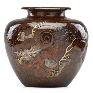 Japanese meiji copper vase hammered copper with applied silvered dragon above cloud banks late 19th c marked 11