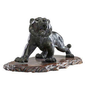 Japanese meiji bronze tiger snarling tiger on period wood base signed 12 x 31