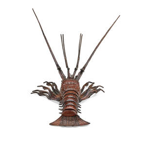 Japanese articulated enameled crayfish naturalistically rendered enameled copper 20th c signed 9 12