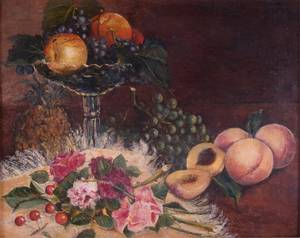 E 19thMid 19th Century Still Life Oil on Canvas