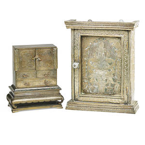 Southeast asian metal boxes three one altar box with relief decoration one tansu with incised lotus and one compartmentalized trolley 20th c largest 13 x 11 x 4