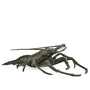 Japanese meiji bronze lobster anatomically modeled with articulated antennae 19th20th c marked 5 x 18 x 9