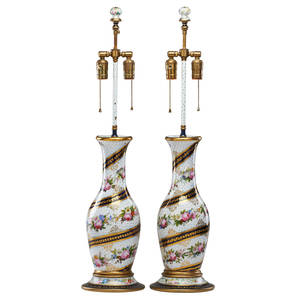 Pair of paris porcelain lamps handpainted floral garlands on white ground with gilt cobalt trim electrified twolight 19th c 32 12 including finial