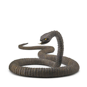 Japanese myochin school iron articulated snake constructed of hammered plates joined inside the body the head with a hinged jaw and moveable tongue meiji period mark for muneyoshi 39