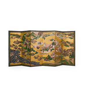 Japanese painted screen handpainted decoration depicting the 500 year war with six panels 19th20th c 78 x 156