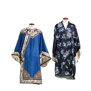 Qing dynasty silk robes two embroidered floral design 19th20th c larger 44 x 30