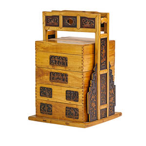 Chinese graduated tansu teakwood with multiple drawers and decorative carved panels 20th c 39 12 x 24 12 x 24