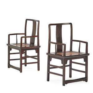 Pair of chinese open armchairs lacquered jumo with yoke back and stretcher base 19th c 39 x 24 x 17
