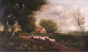 19th C English School Oil on Canvas Landscape