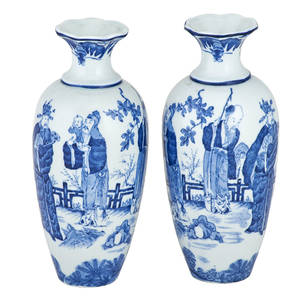 Pair of dutch chinoiserie porcelain vases blue and white outdoor scenes of elders and youths 19th20th c marked 9 12