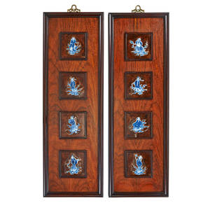 Chinese porcelain inset wall hangings two four blue and white figural tiles 20th c 33 x 11