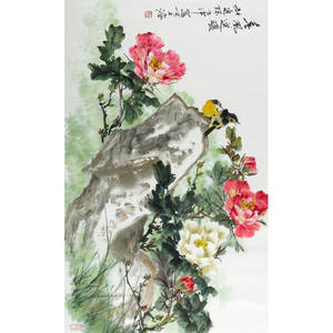 Chen shizhong chinese b 1944 ink and color on paper of birds and flowers framed 23 x 37 14 image