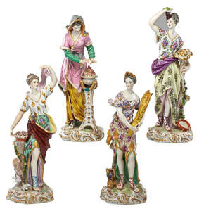 German porcelain figures four emblematic of the seasons ca1900 tallest 14 12