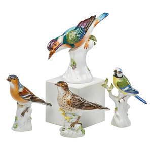 Meissen porcelain figures four various handpainted birds 20th c tallest 6