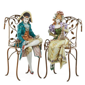Capodimonte porcelain figures two one costumed woman and one gentleman on gilt metal armchairs mid 20th c 35 x 22 x 15