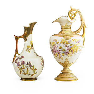 Royal worcester porcelain ewers two one classical style fullbodied and one bulbous form each with handpainted floral sprays and handle early 20th c marked taller 16 12