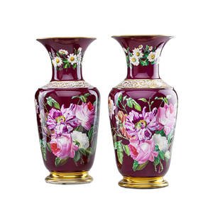 Pair of paris porcelain vases handpainted floral sprays on cranberry ground with foliate border and gilt trim 19th c 18
