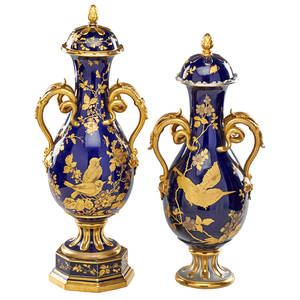 Austrian porcelain vases two similar covered vases each with gilt decoration on cobalt ground late 19th c taller 23