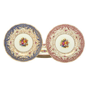 Set of royal worcester porcelain plates eighteen gilt and floral borders comprising three puce three gilt and three blue retailed by rh macy  co 20th c marked 12