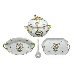Herend porcelain serving pieces four rothschild bird pattern comprising covered tureen 1 ladle 1 small rectangular tray 1 and oval celery dish 1 20th c marked tureen 9 x 10 12