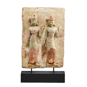 Chinese pottery plaque buddhist figures of the daughters of mara in relief 19th20th c 24 x 15