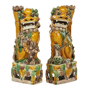 Pair of chinese pottery joss stick holders glazed foo dogs with articulated eyes 8