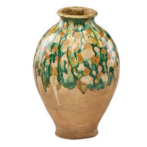 Tang dynasty pottery jar sancai glaze in swollen form 11 58